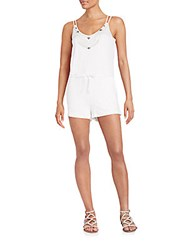 Mlv Reese Beaded Linen Short Jumpsuit White