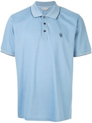 Gieves And Hawkes Logo Embroidered Polo Shirt Blue