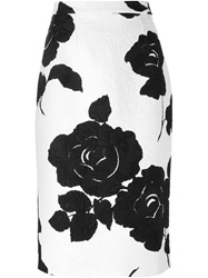 Dolce And Gabbana Floral Brocade Pencil Skirt White