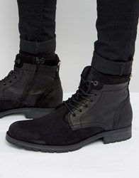 Jack And Jones Hanibal Lace Up Leather Boots Black