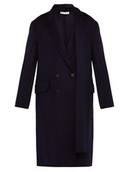 Jw Anderson Double Breasted Brushed Wool Scarf Coat Navy