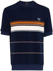 Fred Perry Striped Terry Cloth T Shirt Blue