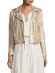 Joie Leolani Metallic Leather Biker Jacket Gold