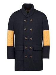Realm And Empire Double Breasted Wool Shawl Collar Coat Navy