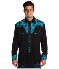 Scully Floral Tooled Shirt Turquoise Long Sleeve Button Up Blue