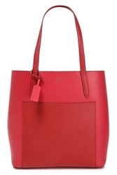Smythson Woman Paneled Leather Tote Red