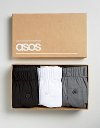 Asos Woven Boxers In Gift Box 3 Pack Monochrome Multi