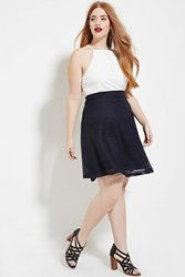 Forever 21 Plus Size Shadow Stripe Skirt Navy
