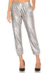 David Lerner Sequin Lounge Jogger Metallic Silver