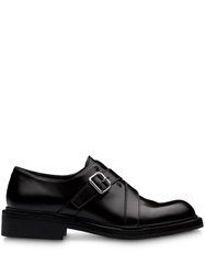 Prada Brushed Leather Laced Oxfords Black