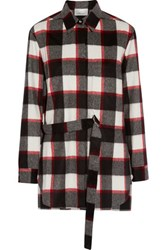 3.1 Phillip Lim Checked Wool And Angora Blend Shirt Red