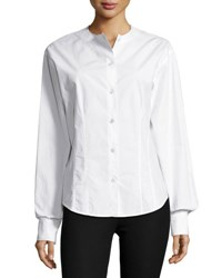 Joseph Asher Fitted Button Down Poplin Shirt White