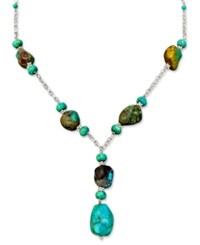 Macy's Sterling Silver Necklace Turquoise Drop
