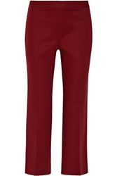 The Row Seloc Cropped Stretch Cotton Straight Leg Pants Burgundy