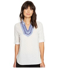 Ivanka Trump Dobby Dot Linen Top With Embroidery Ivory Blue Women's Short Sleeve Pullover Neutral