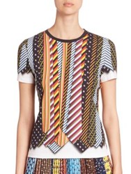 Mary Katrantzou Iven Tie Print Stretch Cotton Tee Ties