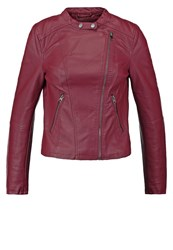 Evenandodd Faux Leather Jacket Berry