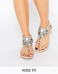 New Look Wide Fit Embellished Flat Sandal Oatmeal Stone
