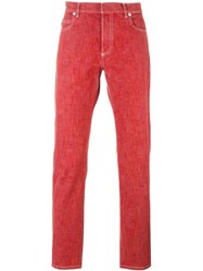 Maison Martin Margiela Slim Fit Stonewash Jeans Red