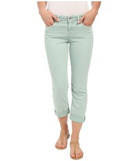 Level 99 Lily Mid Rise Crop Rollup In Mint Destruction Mint Destruction Women's Jeans Green