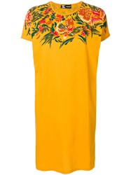 Kansai Yamamoto Vintage Flower Design T Shirt Dress Yellow And Orange