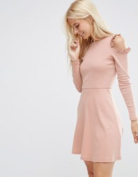 Asos Skater Dress With Frill Detail And Cut Out Shoulder Dusty Pink