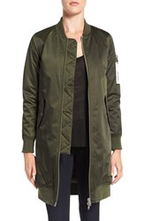 Members Only Women's Ma 1 Long Bomber Jacket Green