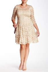 Chetta B 3 4 Length Sleeve Floral Lace Midi Dress Plus Size Beige