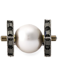 Lanvin Geometric Pearl Ring Metallic