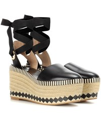 Tory Burch Dandy 85Mm Leather Wedge Espadrilles Black