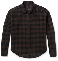 Balenciaga Brushed Wool Blend Twill Overshirt Brown