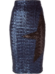 Msgm Contrasting Star Sequin Skirt Blue