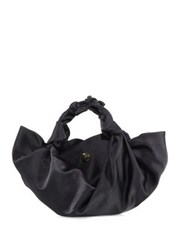 The Row Small Ascot Knotted Satin Tote Black