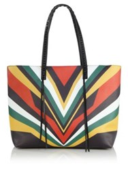 Elena Ghisellini Miky Tiger Medium Chevron Print Leather Shopper Beige Multi Orange Multi