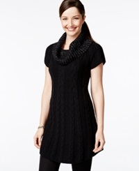 Style And Co. Cowl Neck Cable Knit Tunic Only At Macy's Deep Black