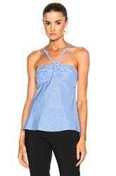 Tibi Gingham Ruched Halter In Blue Checkered And Plaid White Blue Checkered And Plaid White