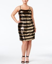 Soprano Trendy Plus Size Sequined Striped Dress Gold