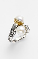 Konstantino Women's 'Hermione' Pearl Coil Ring Silver Gold