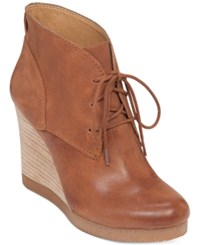 Lucky Brand Women's Taheeti Lace Up Wedge Booties Women's Shoes Chipmunk
