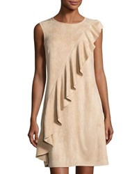 Neiman Marcus Asymmetric Ruffled Faux Suede Dress Blush