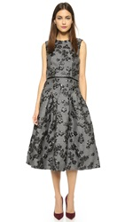 Lela Rose Full Skirt Dress Black Grey