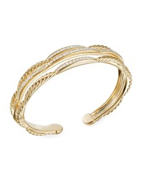 David Yurman Tides 18K Gold 3 Row Diamond Cuff Bracelet
