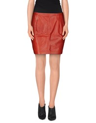 Blk Dnm Skirts Mini Skirts Women Brick Red
