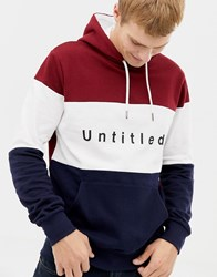 Burton Menswear Hoodie With Untitled Print In Colour Block Red