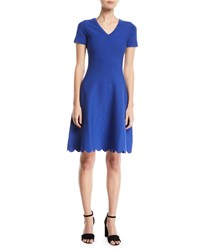 Escada Short Sleeve Fit And Flare Jacquard Knit Dress W Scallop Hem Blue