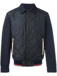 Salvatore Ferragamo Quilted Bomber Jacket Blue