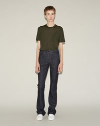Alexander Wang Idol High Rise Flare Denim Stripped Indigo