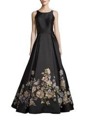 Basix Black Label Floral Print A Line Gown Black