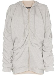 Y Project Reversible Gathered Detailing Hooded Jumper Grey