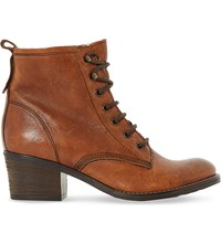 Dune Leather Lace Up Patsie Ankle Boot Tan Leather